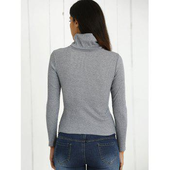 Turtle Neck Long Sleeves Ribbed T-Shirt - XL XL