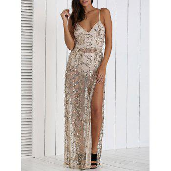 Sequined Backless High Slit Dress