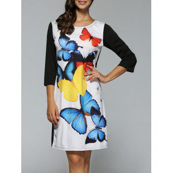 3/4 Sleeves Butterfly Print Dress