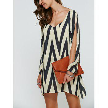 V Neck Zigzag Mini Shift Dress