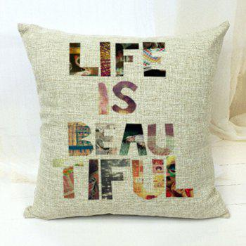 Life Is Beautiful Letters Decorative Sofa Bed Pillow Case