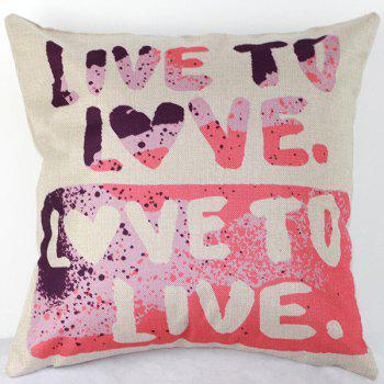 Live to Love Letters Decorative Sofa Bed Pillow Case