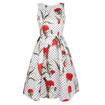 Polka Dot Floral Print Swing Dress