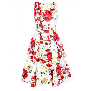 Floral Print Sleeveless Swing Dress