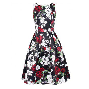 Sleeveless Floral Fit and Flare Prom Dress