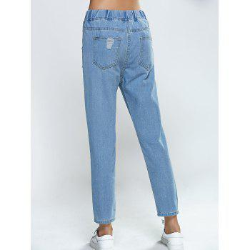 Elastic Waist Broken Hole Pocket Design Jeans - LIGHT BLUE S