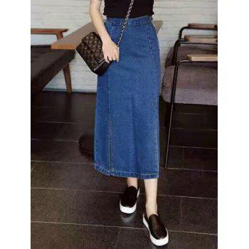Side Slit Slimming Denim Tea Lenth Skirt - XL XL