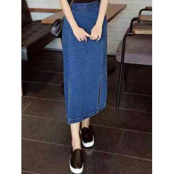 Side Slit Slimming Denim Tea Lenth Skirt