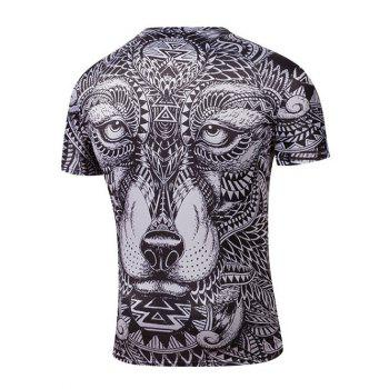 Round Neck Short Sleeve Ornate Animal Print T-Shirt - BLACK XL
