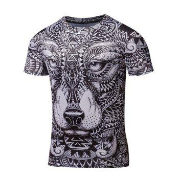 Round Neck Short Sleeve Ornate Animal Print T-Shirt
