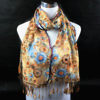 Embroidery Pendant Flower Print Lace Scarf