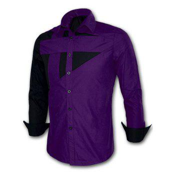 Turn-down Collar Long Sleeve Color Splicing Shirt