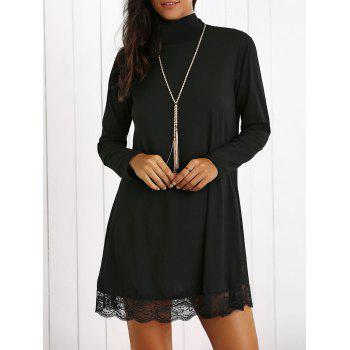 Turtleneck Lace Hem Long Sleeve Mini Dress