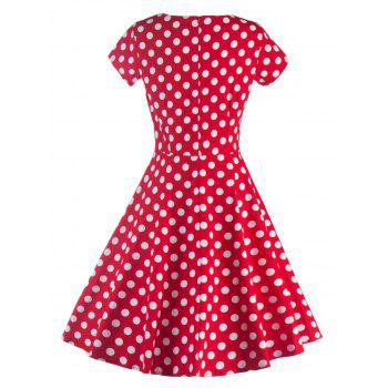 Col sweetheart Robe à pois - Rouge 2XL