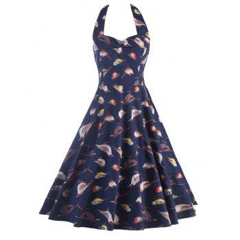 Bird Print Backless Dress