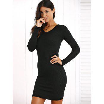 V-Neck Mini Dress Sweater - Noir ONE SIZE