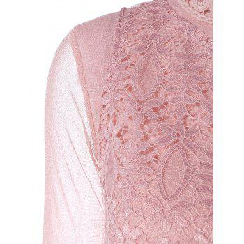 Cut Out Lace Floral Embroidered Translucent Blouse - PINK PINK