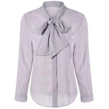 Long Sleeve Plaided Pussy Bow Tie Shirt - NUDE PINK NUDE PINK