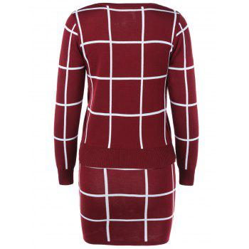 Plaid Sweater + Skirt Suit - Rouge vineux ONE SIZE