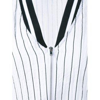 Striped Letter Long Sleeve Jacket - WHITE/BLACK ONE SIZE