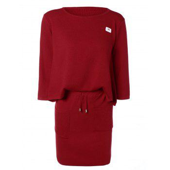 Applique Double Pockets Knitted Two Piece Dress - RED RED