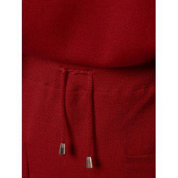 Applique Double Pockets Knitted Two Piece Dress - RED ONE SIZE
