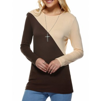 Contrast Color Spliced Slimming T-Shirt