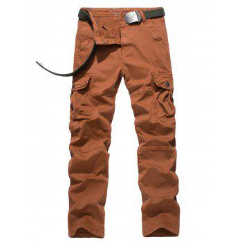 Plus Size Button Flap Pocket Design Straight Leg Cargo Pants