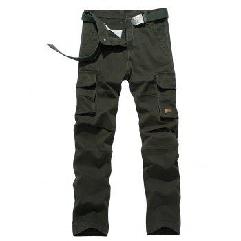 Plus Size Flap Pocket Design Applique Zipper Fly Cargo Pants