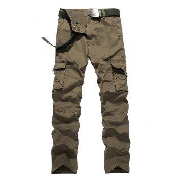 Plus Size Pocket Design Zipper Fly Cargo Pants