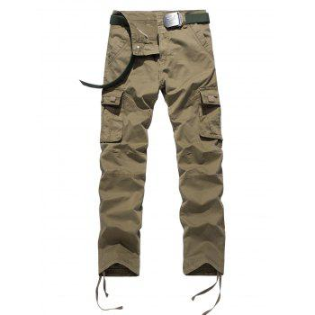 Plus Size Pocket Design Drawstring Zipper Fly Cargo Pants