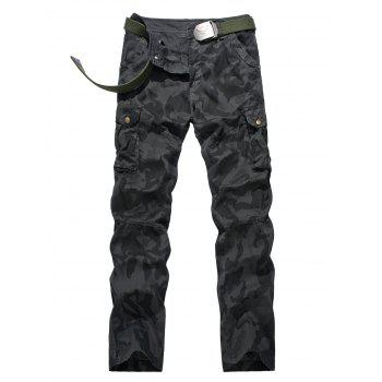 Plus Size Pocket Design Camouflage Zipper Fly Cargo Pants