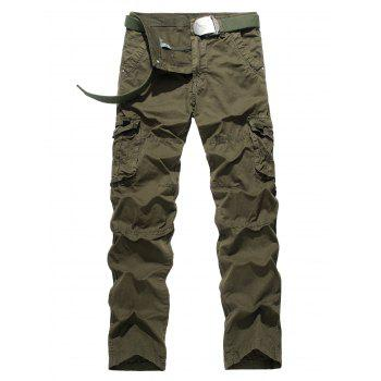 Plus Size Pocket Design Straight Leg Cargo Pants