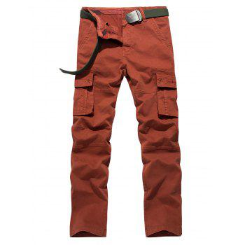 Plus Size Embroidery Pocket Design Straight Leg Cargo Pants