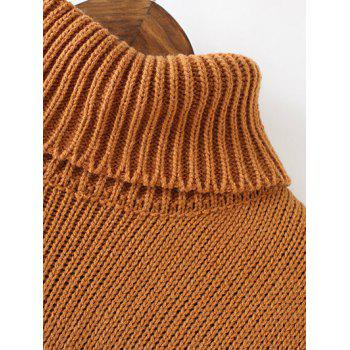 Ribbed Turtleneck Long Sleeve Sweater Dress - RED ONE SIZE