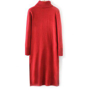 Ribbed Turtleneck Long Sleeve Sweater Dress