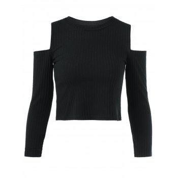 Cold Shoulder Plain Cropped Sweater