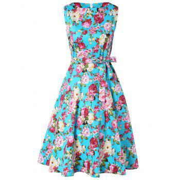 Retro Floral Printed Sleeveless Pleated A Line Dress