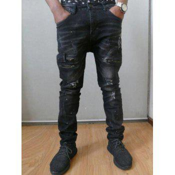 Multiple Pockets Design Distressed Jeans - BLACK 30
