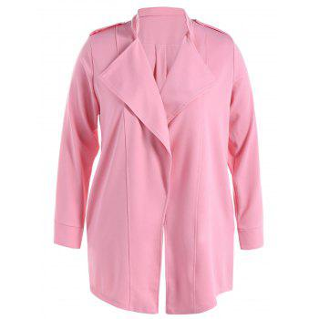 Stand Collar Waterfall Coat With Epaulet