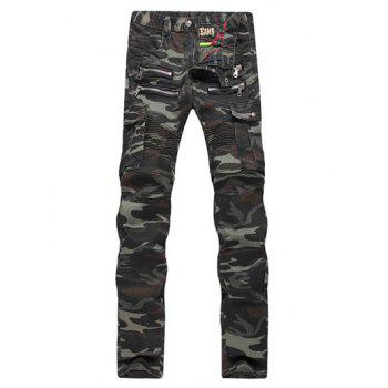 Ruched Design Zipper Embellished Camo Cargo Pants