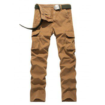 Plus Size Flap Pocket Design Straight Leg Cargo Pants