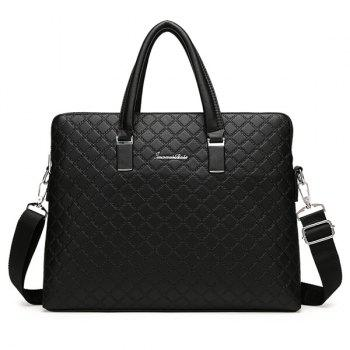 Metal Dark Color Argyle Pattern Briefcase - BLACK BLACK