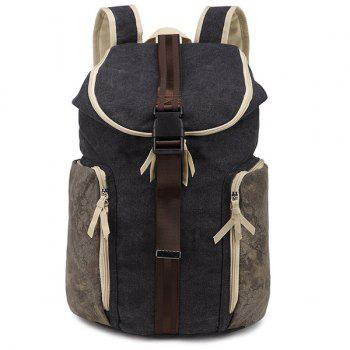 Zippers Canvas Colour Splicing Backpack