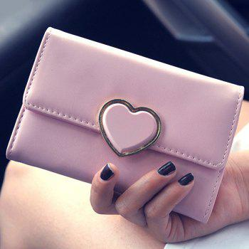 Metal Heart Pattern PU Leather Wallet
