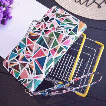 PU Leather Colour Block Geometric Pattern Wallet -  GREEN