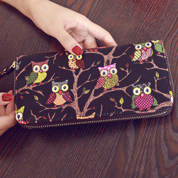 Color Splicing PU Leather Owl Pattern Wallet -  BLACK