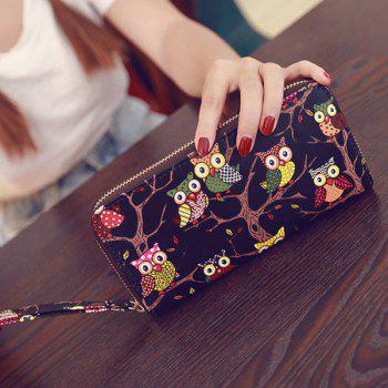 Color Splicing PU Leather Owl Pattern Wallet - BLACK BLACK