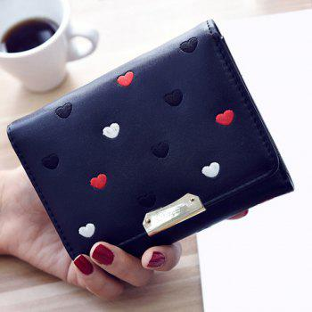 Metal Embroidery Heart Pattern Wallet - BLACK BLACK