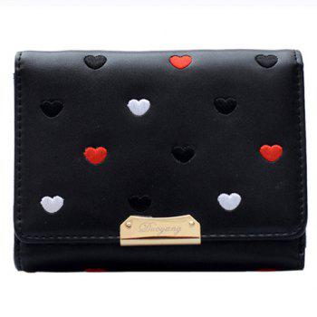 Metal Embroidery Heart Pattern Wallet -  BLACK